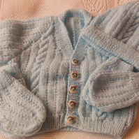 Cabled Front Baby's 4 Piece Cardigan Set, Baby Shower Gift, New Baby Gift