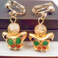 Gold Cloisonne Butterfly Clip On Earrings, Ladies Clip On Earrings