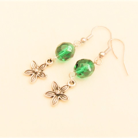Green Crystal Bead with A Silver Plated Flower Charm Earrings For Pierced Ears