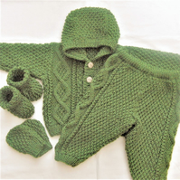 Hooded Jacket and Trouser Suit, Aran Winter Baby's Suit, Baby Shower Gift