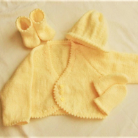 Picot Edged Baby's Cardigan Set, Baby Shower Gift, New Baby Gift