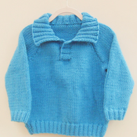 Aran Weight Hand Knitted Childs Jumper with Collar, School Jumper