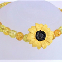 Yellow Sunflower Button & Glass Bead Necklace, Mothers Day Gift, Floral Necklace