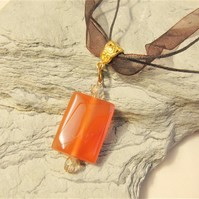 Red Aventurine Rectangle Pendant Necklace on an Organza Necklet
