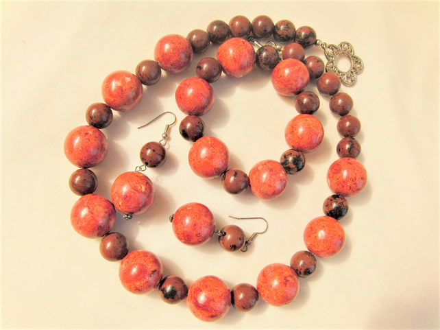 Red Pressed Coral and Mahogany Obsidian Beaded 3 Piece Jewellery Set