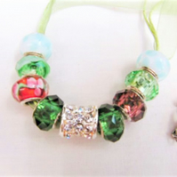 Blue Green Red Purple Lampwork Bead Necklace With Silver Rhinestone Bead Centre