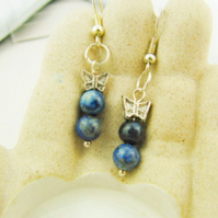Lapis Lazuli Earrings with a Silver Plated Butterfly, Mothers Day Gift