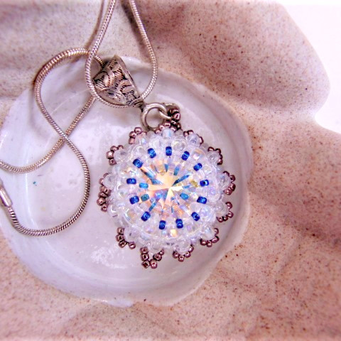 Beaded Pendant Necklace With A Swarovski Rivoli Crystal, Mothers Day Gift