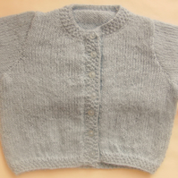 Classic Hand Knitted Round Neck Baby Cardigan, Baby Shower Gift, New Baby