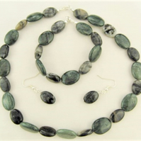 Semi Precious Green and Black Agate Jewellery Set, Mother's Day Gift