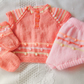 Hand Knitted 3 Piece Dress Pants and Socks Set for a Baby Girl, Baby Shower Gift