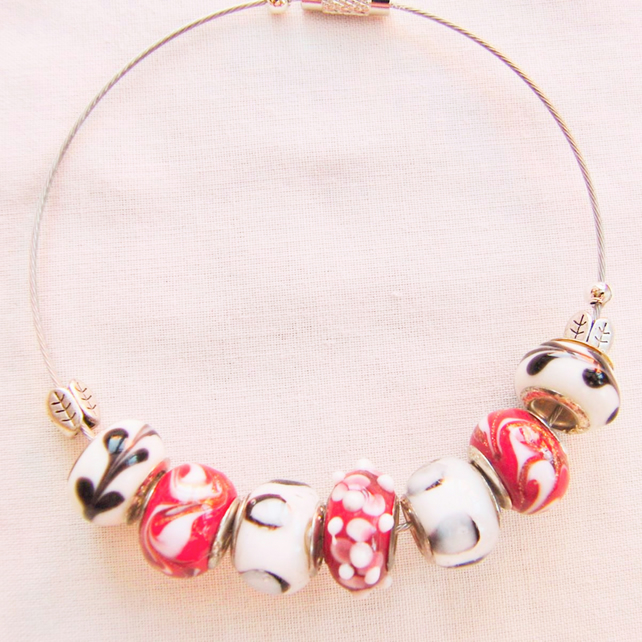 Red and White European Lampwork Bead Bracelet on a Memory Wire Band