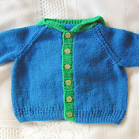 Two Tone Hand Knitted Hooded Baby Jacket, Baby Shower Gift, Gift for New Baby