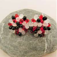 Black White and Red Small Beaded Brooch, Mothers Day Gift