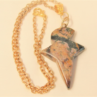 Stylised Jasper Bird Men's Pendant on a Gold Plated Chain, Men's Bird Pendant