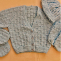 4 Piece Baby's Basketweave Cardigan Set, Baby Shower Gift, New Baby Gift
