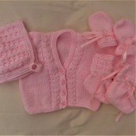 4 Piece Cardigan Set for a Baby Girl Comprising Cardigan Bonnet Mittens & Boots