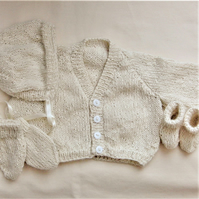 Knitted 4 Piece Baby's Classic Cardigan Set, Baby Shower Gift, New Baby Gift