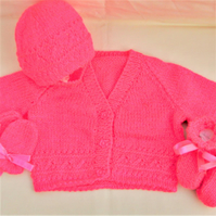 4 Piece Pink Cardigan Set for a Baby Girl, Baby Shower Gift, New Baby Gift