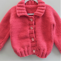 Girl's Cardigan Hand Knitted in Super Chunky Yarn, Knitted Children's Jacket