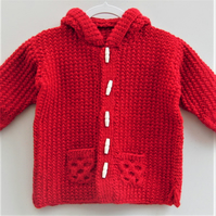 Hand Knitted Baby's Duffle Coat, Children's Hooded Coat