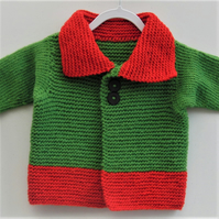 Baby's Coat with Collar, Knitted Baby's Coat, Baby's Winter Coat