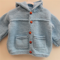 Knitted Baby's Chunky Duffle Coat, Knitted Hooded Coat, Super Chunky Duffle Coat