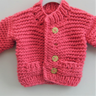 Super Chunky Girls Cardigan, Baby Gift, Girls Knitted Chunky Jacket