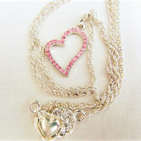 Pink or Clear Crystal Rhinestone Open Heart Pendant Necklace, Bridal Jewellery