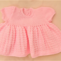 Baby Girl's Knitted Dress with a Full Skirt, Baby Shower Gift, New Baby Gift