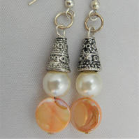 Peach Mother of Pearl and Cream Pearl Earrings for Pierced Ears