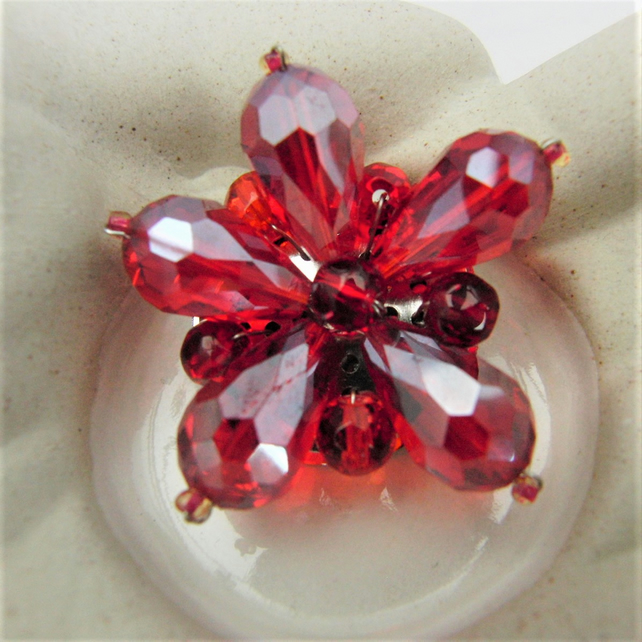 Red Crystal Floral Brooch, Red Flower Brooch, Jewellery Gift for Her