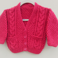 Unisex Hand Knitted Cabled Cardigan, New Baby Gift, Baby Shower Gift