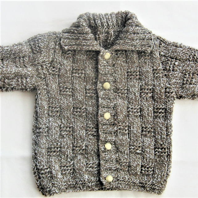 Hand Knitted Basket Weave Patterned Children's Cardigan, Cardigan with Collar