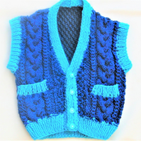 Cabled Waistcoat with Pockets, New Baby Gift, Baby Shower Gift