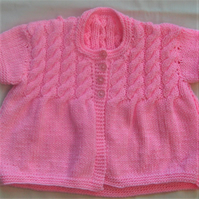 Girl's Hand Knitted Cable Yoke Cardigan, Baby Shower Gift, New Baby Gift