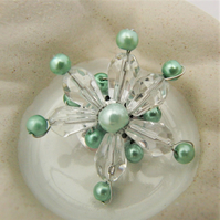 Clear Crystal and Green Pearl Beaded Flower Brooch, Jewellery Gift for Her