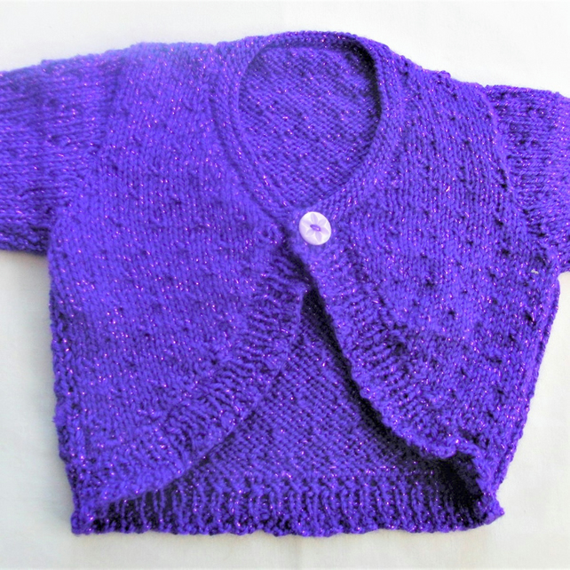 Curved Front Hand Knitted Baby Cardigan, Baby Shower Gift, Christening Gift