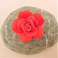 Polymer Clay Red Rose Ladies Brooch, Jewellery Gift for Her