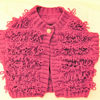 Girl's Knitted Loopy Waistcoat, Knitted Aran Weight Cardigan, Birthday Gift,