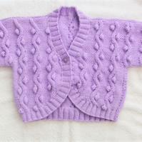 Girl's Cabled Aran Bolero, Short Sleeved Cabled Cardigan, Spring Cardigan