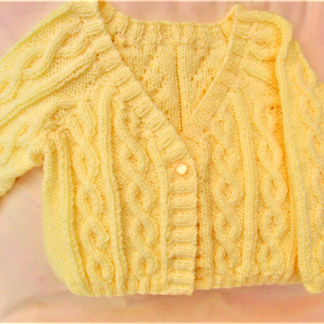 Girl's Knitted Cabled Cardigan, Long or Short Sleeves, Birthday Gift