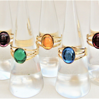 Ladies Adjustable Cabochon Statement Ring with a Choice of Base & Stone Colour