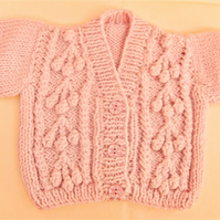 Girls Aran Cardigan With Cherry Pattern, New Baby Gift, Baby Shower Gift