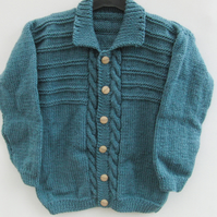 Hand Knitted Children's Cabled Cardigan, Aran Weight Cardigan