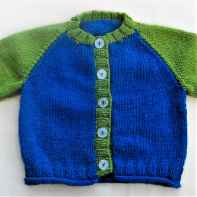 Baby's Hand Knitted Two Tone Cardigan, Baby Shower Gift, New Baby Gift