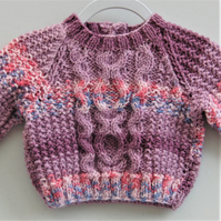 Purple Mix Cabled Baby's Jumper, Baby Shower Gift, Baby Gift