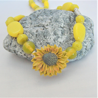 Sunflower Button and Yellow Bead Necklace, Jewellery Gift for Her