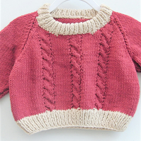 Baby's Hand Knitted Cabled Sweater, Cotton Jumper, Baby Shower Gift