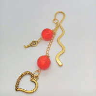 Gold Plated Bookmark with Round Red Glass Beads and Heart and Key Charms
